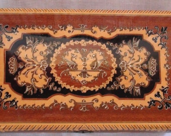 Vintage Italian Wood Jewelry Box   10 1/2 X 6 X 3 with swiss music movement SomeWhere My Love from Dr Zivago Movie Classic  On SaLe Now