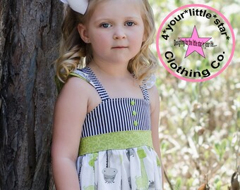 Black Striped Green and White Dahlia Giraffe on Safari ruffle Dress infants toddlers, girls 12m, 18m, 24m 3, 4, 5,6,7, and 8