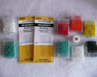 11/0 Seed Bead Variety Pack with Needles and White Nymo Beading Thread