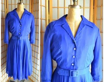 50s cobalt blue chiffon ocktail / party dress with matching belt womens size large