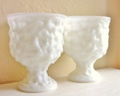 Pair of Matching Milk Glass Vases Compotes White Pedestal Bowls