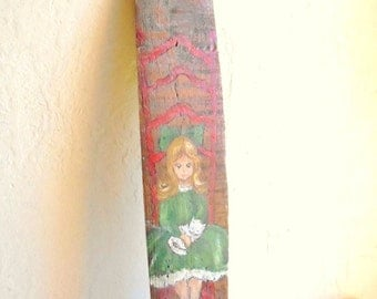SALE Handpainted Girl on Salvaged Wood Wall Hanging Holidays
