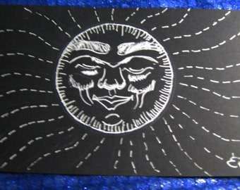 Smiling Head, Doodle 4 1/2 by 7 inches, white ink on black paper