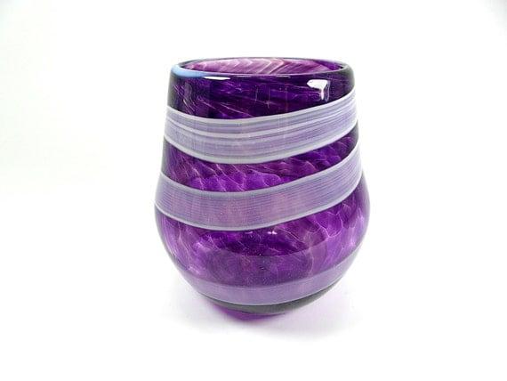 Handblown bright violet stemless wine glass best friend - Hand blown stemless wine glasses ...