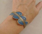 Vintage Alpaca Mexico Silver Brass Copper Inlaid Crushed Turquoise Cuff Bracelet