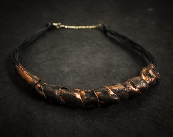 Stylish statement leather necklace Copper color Unique leather jewelry