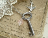 Secret Garden Antique Key Necklace. Vintage Skeleton Key Necklace, Silver Bird & Glass Flower. Rustic Garden Necklace. PreciousPastimes.
