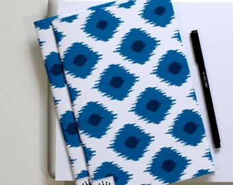 6 x 9 Paper Filled Journals, Two, Modern Ikat Navy