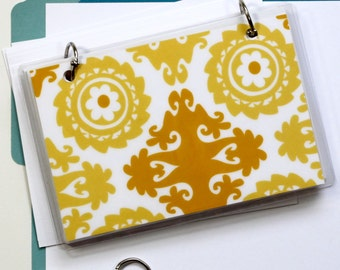 4 x 6 Index Card or Note Card Binder, Suzani Yellow