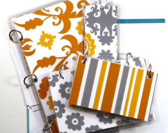 Three Ring Binder Gift Set,  Grey and Gold Suzani