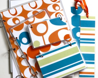 Three Ring Binder Gift Set, Orange Blobs