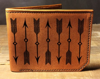 wallet - leather wallet - mens wallet- arrows wallet - 032