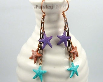 Pastel Starfish Dangle Earrings, hand painted brass charms on antique copper finish chain, rustic beach jewelry