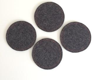 Wool Felt Coaster Set: Heather Charcoal Ground - Neon Orange Stitching