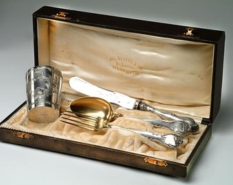 19th c. Cased Silver Set:  Presentation Set for Travel - Jos. Netter & Co. Mannheim, Germany - 800 Continental Silver - Unique wedding gift