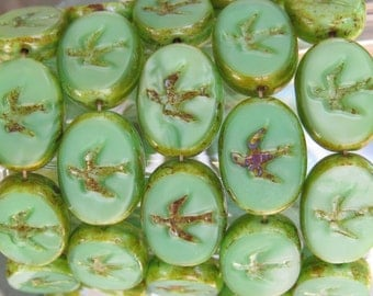 16x12mm Opaque Green Picasso Edged Table Cut Czech Glass Swallow Beads - Qty 6 (BS221)