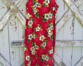 Tropical delight - vintage 1980's Hawaiian shift dress L XL