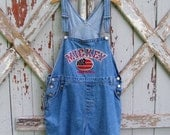 Red White & Mickey - vintage Mickey Mouse shorts overalls XL