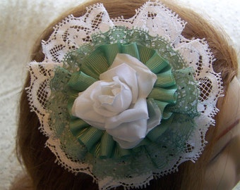 Green and White Lace & Ribbon Hair Bow
