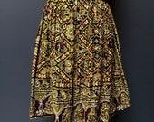 1970s skirt bohemian hippie black gold ethnic India gauze medium