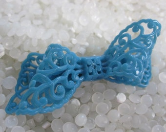 vintage barrette vintage 1930s blue delicate molded bow intricate ribbon