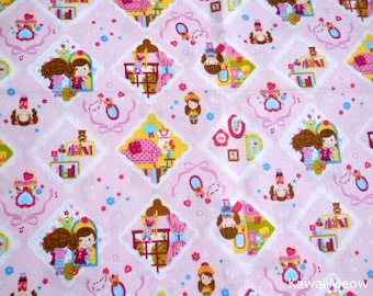 Kawaii Japanese Fabric - Cute Girls on Pink - Fat Quarter (ca0913)