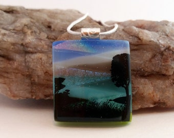 Black Tree & Pond Scenic Silhouette Fused Glass Dichroic Necklace/Pendant