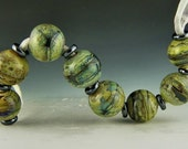 set of 8 rounds in organic marbled neutral colors handmade lampwork glass beads - Nepenthe's Pearls