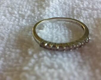 Vintage 14k  white gold and nine  diamond wedding band size7.75