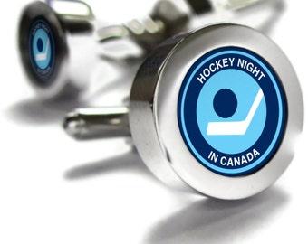 Hockey Night in Canada Retro Cufflinks - hockey cufflinks, Canada gifts, retro gifts, hockey gift, Don Cherry, hockey, Cuff links