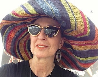 Wide Brim Multi Stripe Sun Hat