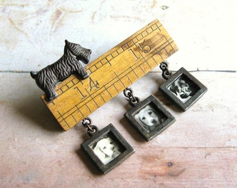 Dog Lover - Handmade Mixed Media Assemblage Brooch or Tie Pin with Scottie Dog and Vintage Photos with Gift Box