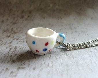 Tea Lover - Wee Spotty Cup and Antiqued Silver Plated Chain Handmade Necklace Gift Box
