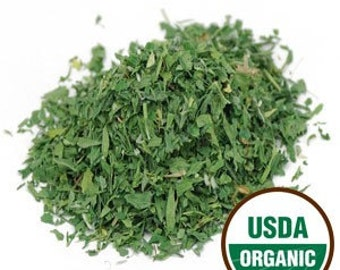 Alfalfa leaf dried organic herb by the ounce USA - bulk herb for teas tinctures salves bath products oz lb Medicago sativa coyoterainbow