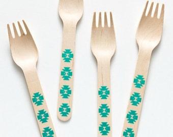 Aztec Forks - 20 Wooden Forks