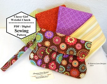 handbag sewing pattern, clutch, wristlet, digital sewing pattern, easy gifts to make, gifts for friends, sewing tutorial, purse pattern
