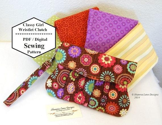 Easy Handbag Pattern : handbag sewing pattern, clutch, wristlet, digital sewing pattern, easy ...