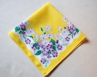 Vintage Hankerchief - Hankie - Vintage hanky - Yellow Daisies Hankie - Purple Floral Handkerchief - Bridal Favor - 1960's
