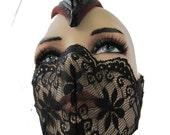 Black Lace Mask, Lace mask, lingerie,  Fetish,Fantasy, Burlesque, Play wear, Club wear, Medical Fetish: Renegade Icon Designs