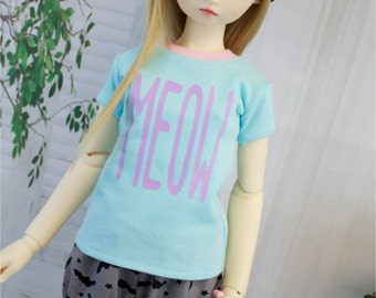 Pastel MEOW Shirt for SD BJD, 1/3 Clothes, Sd10