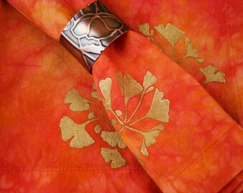 Orange Napkins, Hand Dyed Cotton Napkins, Fall Table Decor, Fabric Dinner Napkin Set Terracotta Gold Gingko Leaf Design