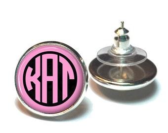 Pink and Black Monogram Earrings, Monogram Stud Earrings, Monogram Jewelry  (391)
