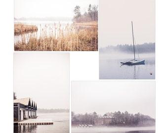nature print set, wellesley college nature photograph, winter woodland photo, new england art, set of 4 prints, lake waban, large wall art
