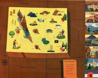 VIntage Pictorial Map of Colorado 1939 World's Fair
