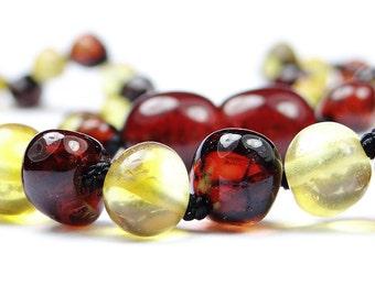 Lemon & cherry amber teething necklace BAROQUE beads