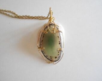 Green Agate Pendant Green Agate Slice Chain Necklace Wire Wrapped Pendant Green Necklace Green Pendant Green Agate Wired Agate