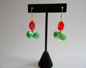 Green Beads Earrings Red Beads Earrings Green Earrings Red Earrings Dangle Earrings Pierced Earrings Glass Beads Earrings Beaded Earrings