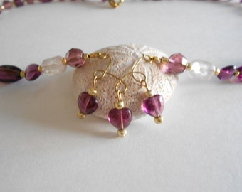 Purple Necklace Purple Glass Beads Clear Glass Beads Beaded Necklace Wired Pendant Glass Beads Necklace Gold Tone Findings