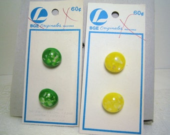 Vintage Plastic Half Ball Shape Buttons with Pearl Chips BGE 2 cards