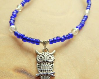 Owl Necklace, Cobalt Blue and Crystal, Handcrafted Jewelry, Teen Jewelry, Native Style, Boho Jewelry, Seed Bead Jewelry, Gift for Her